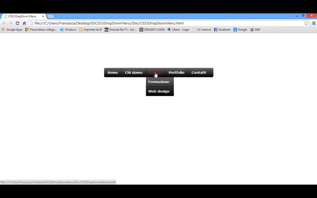 Tutorial menù a tendina in HTML e CSS3