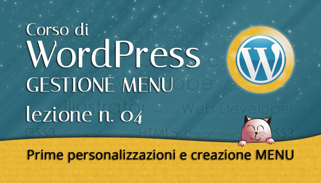 04 CORSO DI WORDPRESS: prime personalizzazioni e creazione MENU